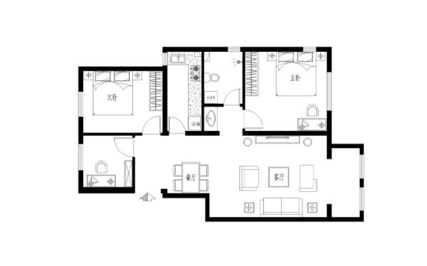 郑州实创装饰-正商蓝海港湾129平三居室-平面布置图