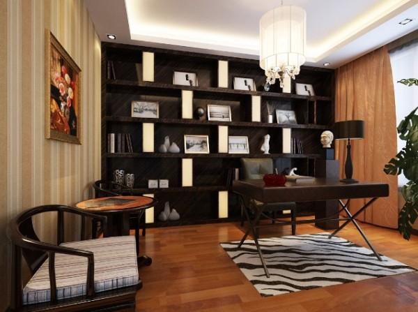 书房的书柜设计,简约大方,暖色的木地板和深色的家具,为业主营造了舒适放松的学习环境。