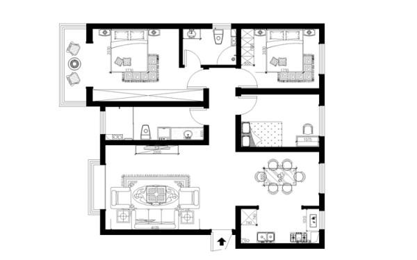 郑州实创装饰-鑫苑世纪东城127平三居室-平面布置图