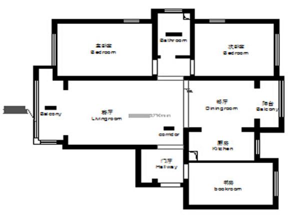 郑州实创装饰-卢浮宫馆140平三居室-原始结构图