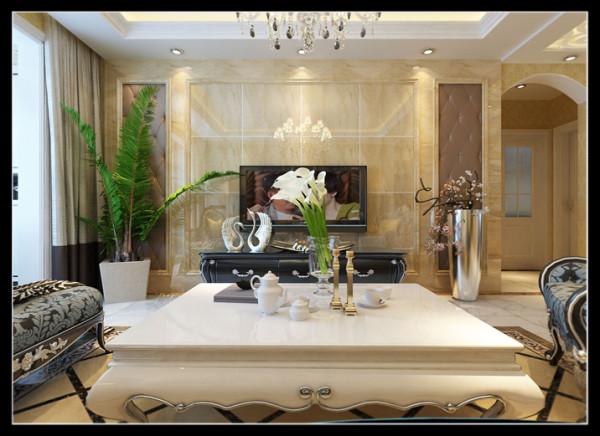 郑州实创装饰-卢浮宫馆140平三居室-电视背景墙