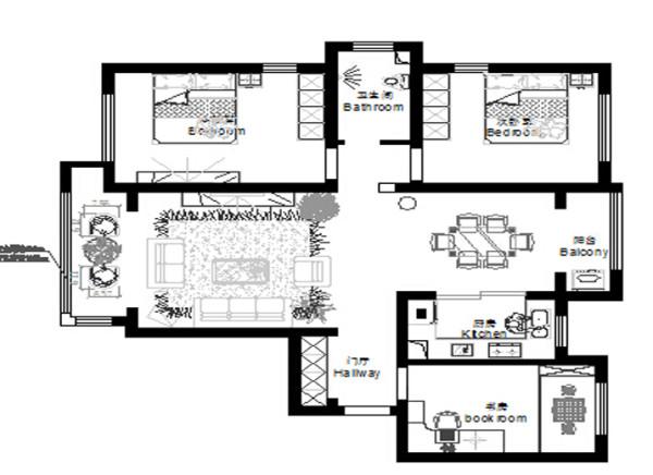 郑州实创装饰-卢浮宫馆140平三居室-平面布置图