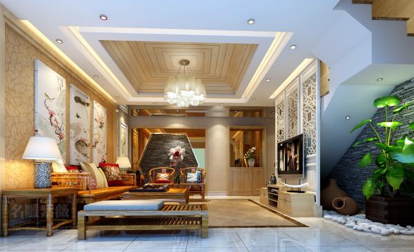 名雕装饰设计,公园大地豪宅现代中式入户客厅:以现代材料和中式元素营造新东方主义的设计风格。