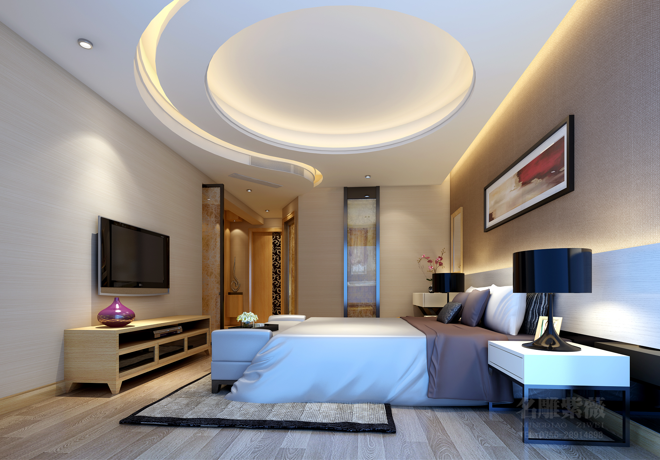 现代中式 四居 公园大地 豪宅装修 宁静致远 名雕装饰 卧室图片来自名图片