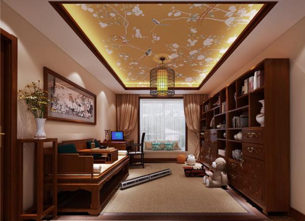 中式又富有现代感的家具,加以点缀般明快的天棚壁纸,更好的将活动是与书房完美的结合。