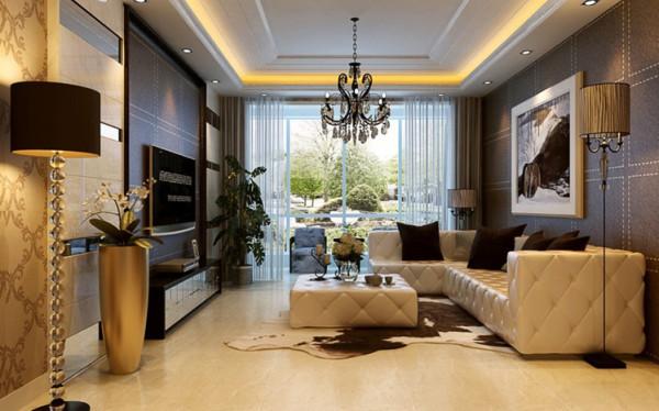 郑州实创装饰-正商蓝海港湾129平三居室-电视背景墙