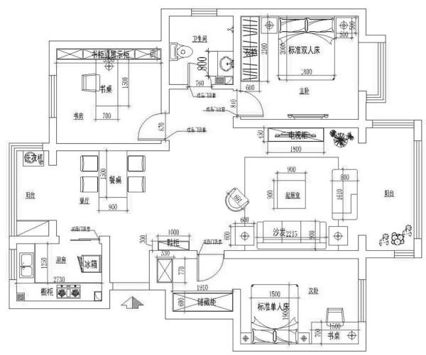 高速翡翠湖畔-现代简约-三居室-平面布置图