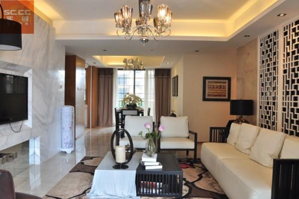 珠峰国际花园-三居装修设计-客厅效果图