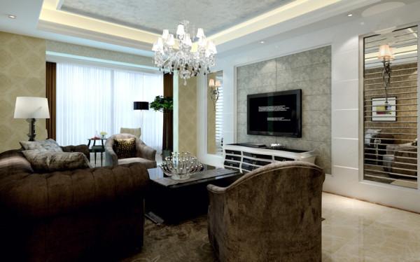 本案的电视背景墙采用了对称的镜面处理的手法,一方面能提高了整个空间亮度,另一方面也是一个很好的装饰,再加上暖色的地面,白净的墙面,稳重的沙发布艺,更有温馨的感觉。
