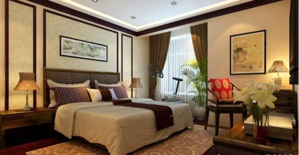 复地东湖国际中式风格复式二层卧室装修效果图