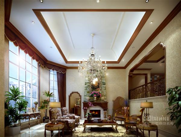 """改变了传统的以""""电视为中心""""的格局,着力打造一个兼具休闲氛围的礼仪空间。借助绿植拉近室内外的空间距离,大量运用木质材料营造一种温馨的乡村风情。"""