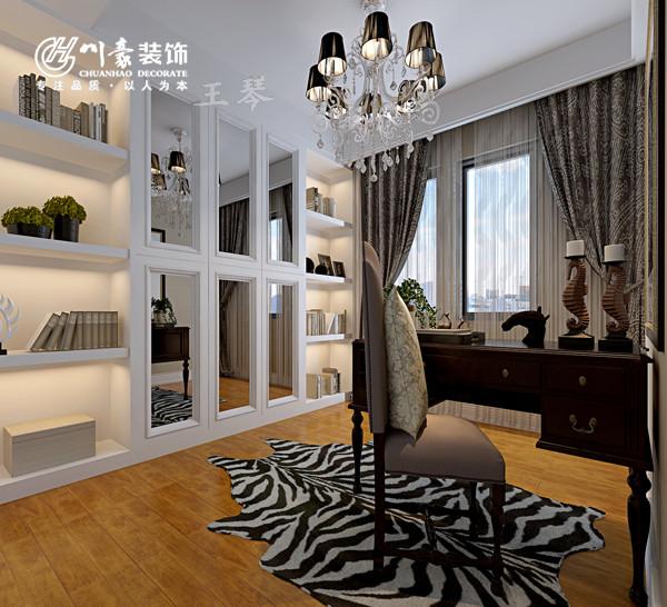 天下锦城119㎡现代装修风格书房,地面实木地板。