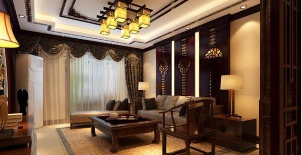 复地东湖国际复式中式风格客厅装修效果图