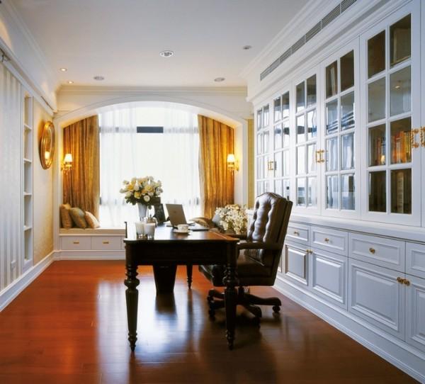 北京七九八零设计工作室,浪漫美式设计,旧房改造,书房设计