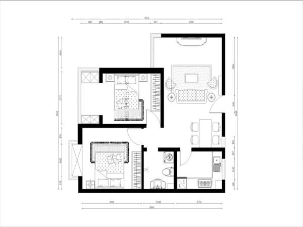客餐厅的后方是主卧与次卧,主卧的墙体布局规整,并带有阳台,可用于储物或者休闲用,并且大面积的落地窗也可以使主卧的光线十分充足。次卧与主卧相邻, 卫生间与主卧相对,与次卧相邻,方便业主的使用。