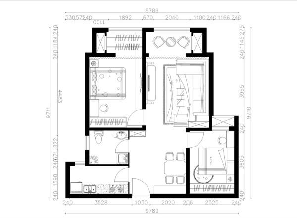 电视墙旁边是主卧室进门的位置,主卧室相对次卧来说面积较大。居住起来肯定方便舒适。从入户门左手边来看,是一个厨房,厨房面积不大,可以盛放下一字型橱柜。最后一个就是卫生间的位置,卫生间结构方正