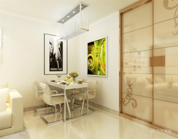餐厅摆放了四人餐桌,餐厅背景墙分别挂了两幅挂画,漂亮的挂画既有现代气息又能使人增强食欲