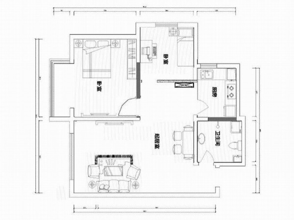 本户型为沽上江南2室2厅1厨1卫 105平米设计方案。风格为简欧,入户右手为卫生间,与之想临是厨房,正前方为起居室,客厅较宽敞,右侧为卧室区域,正右侧为次卧,相邻为主卧。本户型基本无拆改,很适合设计改造。