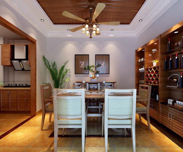 在餐厅的设计上运用了东南亚比较常的木顶及吊灯,东南亚风格更加浓郁。亮点:生态木的吊顶、电扇形状的吊灯配上餐桌及酒柜,使得餐厅大气稳重,开放式的厨房让餐厅更加开阔,餐厨一体的空间看起来相得益彰。