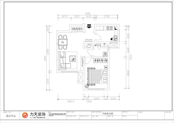 走过玄关往里走,右手边是嵌进墙体的推拉式衣柜,可以当作一个小小的储物间使用,接下来就是餐厅,餐桌靠墙摆放,由于空间较小,摆放的是个四人餐桌,挨着餐厅的是客厅,客厅放了一个拐角沙发,客厅的背景墙较小