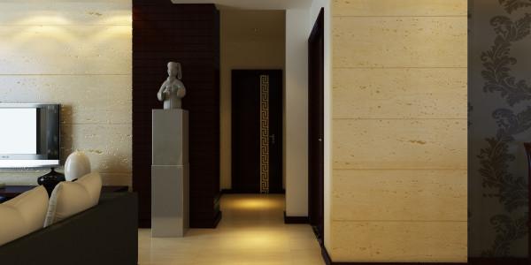 简洁的墙角和角线,简化的装饰语言,简单的设计让视觉得以缓冲,也让整个中式家居的沉闷环境得以缓解
