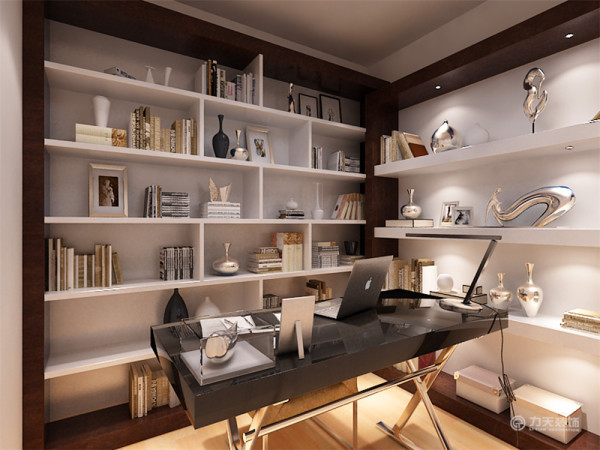 书柜,则选择了成品的简单的书柜。不同的隔板的组合,简单而不失空间感。使空间有规律,让物品有所规置。书房的书桌,则选择了烤漆桌面和钢架结构的简易书桌。这样的书桌易于展开和折叠,更利于空间感的利用。