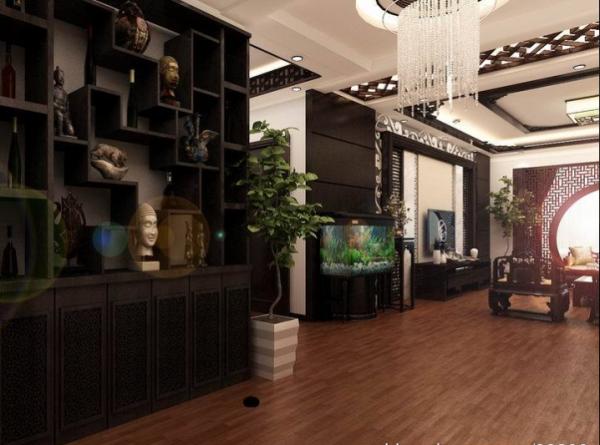 古典韵味中式风格客厅玄关装修设计效果图