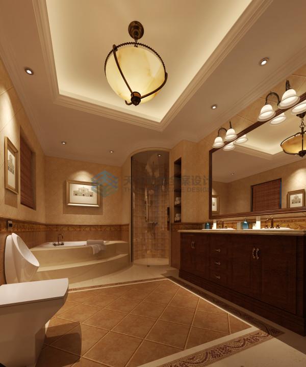 在主卧卫浴的设计中,采用了圆形的造型手法塑造淋浴空间,空间圆润,和扇形浴缸形成弧形元素的搭配,使整体空间对称的造型有个对比,形成独特的个性浴室空间。