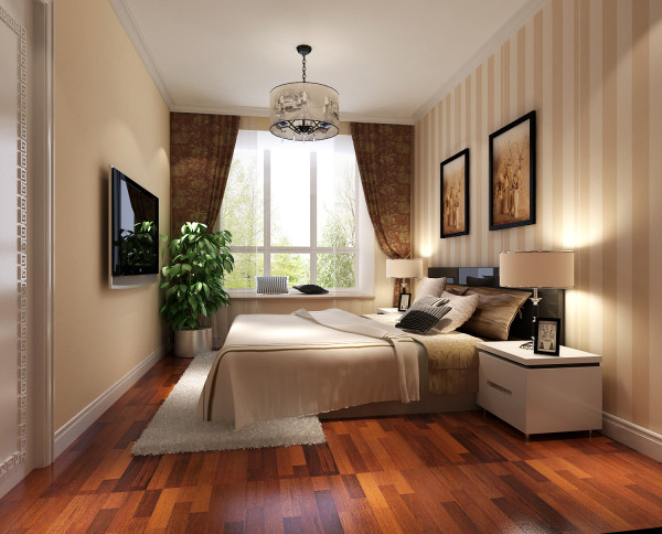 由于考虑了整体空间的通透性,所以在客厅区域做了中式木删格的点缀,即通透又呼应了顶部及电视背景隐形门处理,复合整体的风格。