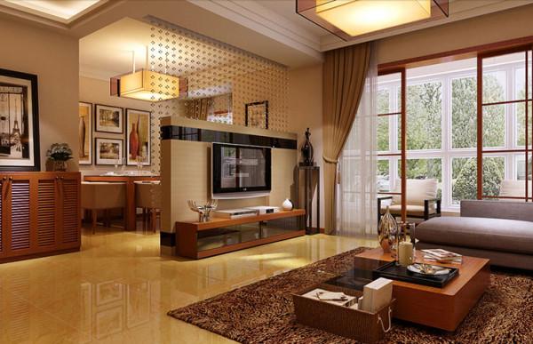 餐厅和客厅选用玻璃珠帘隔断隔断电视背景墙,风吹珠帘,沙沙作响,一首大自然的美妙音乐。