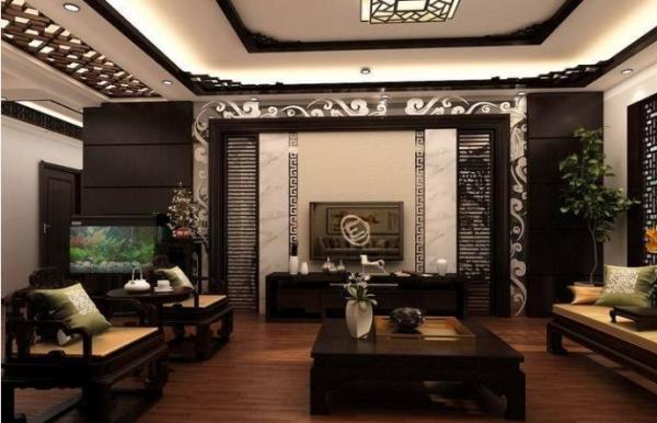 古典韵味中式风格客厅电视墙装修设计效果图