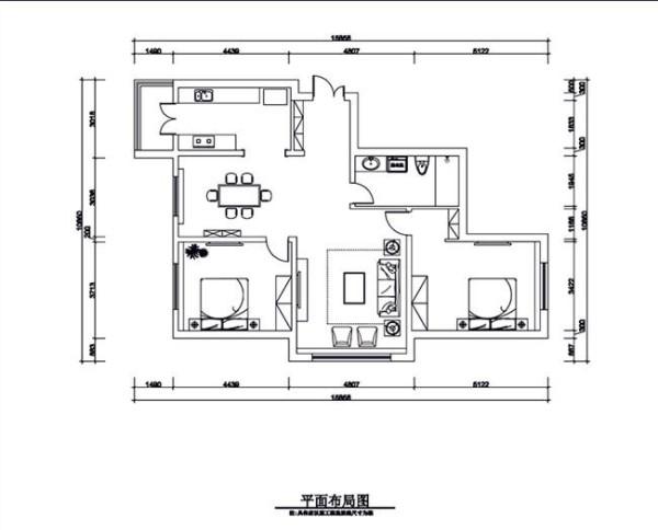 144平米二居室户型图