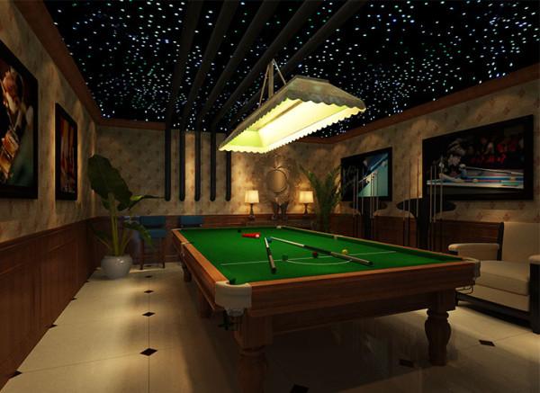 设计理念:地下室作为休闲娱乐空间,包含会客厅、台球厅、棋牌室、吧台以及一个应业主要求设置的照片房。