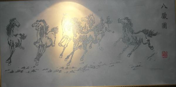 大家应该都知道徐悲鸿的八骏马吧!好多人都希望家里面有一款这要的字画,现在中鼎让你的愿望成真,可以用浮雕烙印弄上去。