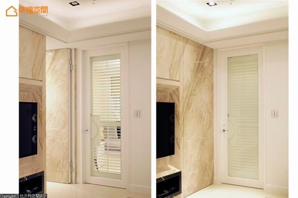除运用落地窗引入采光,设计师刘晓芬将长辈房开门换以百叶设计,可随兴调节光影流动与隐私。