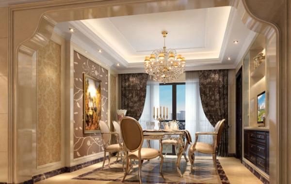 餐厅的基调与客厅相符,都采用了米黄色,加之水晶吊灯的使用,时整个餐厅温暖又不是高贵。