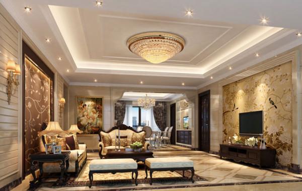 客厅采用大量米黄色大理石与花鸟气息的壁纸完美结合,奠定了客厅富丽堂皇的基调。水晶灯的运动与客厅整体风格浑然一体使其更加璀璨炫目。
