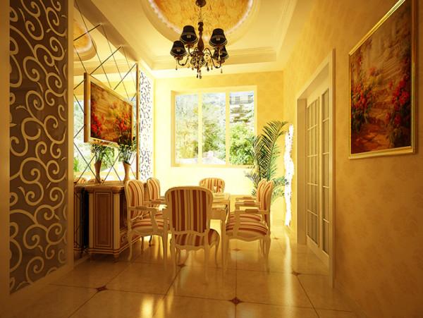 设计说明:餐厅用欧式木格作为餐厅背景墙的延伸,镜面的处理手法更使原本狭小的餐厅显得宽敞大气