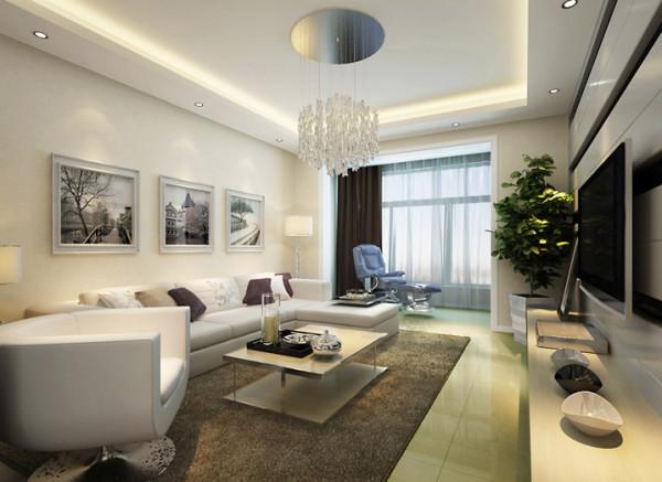 """客厅:简约而奢华的客厅 设计理念:以黑白灰为主题,深色为衬托,营造一个现代、简约而奢华的室内空间。客厅的整体设计手法极为简洁,""""以纯为美""""的用材理念与简约的奢华风格浑然天成。"""
