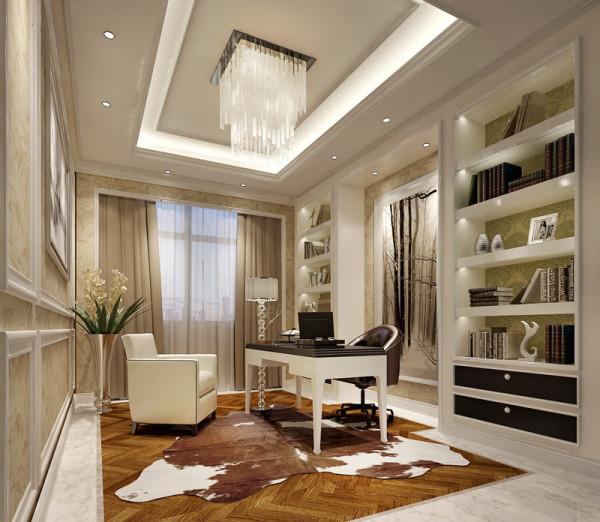 书房设计:书房内干练的线条白色的木框已是简约时尚,而纯色的沙发椅黑白配使的整体风格保持了沉稳的风格。黑色的抽屉引人注意;每个抽屉里面装满宝藏,故事还是...让你进入暇想,不禁想去打开它。