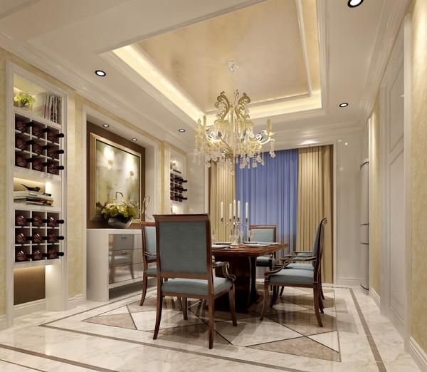 餐厅设计:餐厅的设计主要体现在功能布局和灯光上面。灯光的亮度,高度都是决定这一点的要素。好的灯光配置可以增加食欲,气氛温馨...装饰酒架和储物柜分开设计不仅功能分区明确,而且对称的布局显得大气沉稳