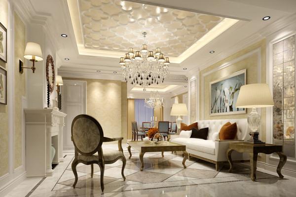 客厅设计:客厅以浅色白色和米黄色为大色块加以搭配。软装配上深色抱枕和沙发椅,地面配上深色地砖拼花,墙面配上装饰画色彩层次丰富不单调。造型通过线条和色块大小形状进行装饰,显得跳跃活泼有层次。