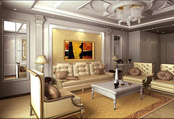 蓝宝湾115平豪华欧式客厅沙发背景墙效果图