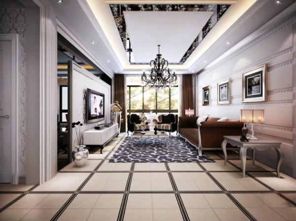 本套方案的风格采用在脑袋新古典,在顶面的玻璃和沙发背景墙造型两处分别采用和餐厅类似的 处理方式,和谐统一,让人感觉不凌乱,不复杂。
