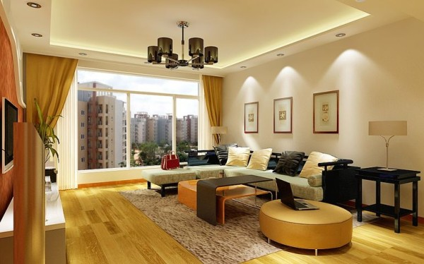 简洁和实用是现代简约风格的基本特点。在功能方面,客厅是主任品味的象征,体现了主人品格,地位,也是交友娱乐的场合,电视背景墙采用石膏板壁纸做的造型,既简单又大方