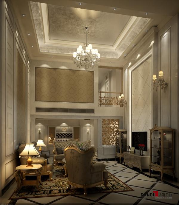 名雕丹迪别墅设计院-香蜜湖复式楼阁-简欧客厅:两层挑高的客厅彰显主人生活品味,整个设计所呈现出即有欧式的贵气,又充满浓浓的居家意境;