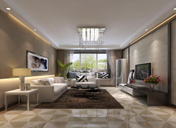 做了一下简单的电视背景墙,沙发背景墙贴浅棕色的壁纸,米棕色的窗帘布艺。使整个客厅的地面和墙面以及软装配饰遥相呼应,沙发布艺搭配经典的白色和黑色,使整个空间的黑白灰色彩关系很协调。