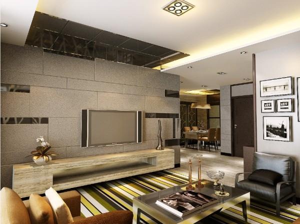 客厅做梯形回型顶与镜面结合,安装筒灯,个性鲜明。电视背景墙业让业主直接买的灰色软包,中间穿插少许镜面,时尚大气。地面建议搭配色调明快的地毯,使之不会太单调。