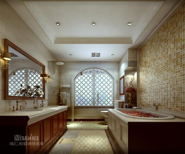 马赛克拼贴的背景墙,有种神秘的异域风情。洁具和五金件的造型多以柔美的曲线为主,改变了卫浴空间硬冷的印象,栅格窗的复古设计,让这个功能性空间也有了别样的风情。