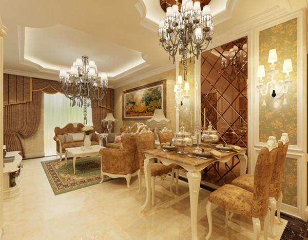 保利拉菲公馆-欧式风格-三居室-餐厅 客厅装修效果图